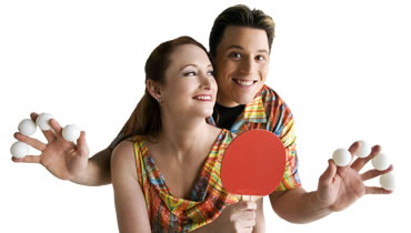 Comedy Jugglers Mark and Marlo play TableLESS Ping Pong